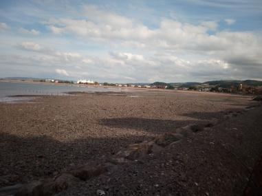 minehead beach Butlins in background